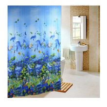 Hot New 180 x 180cm Sea Life Waterproof Fabric Bathroom Shower Curtain Light Blue With 12pcs Curtain Hooks Rings Free Shipping