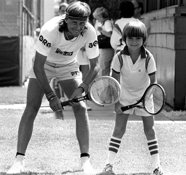 Need a smile today? From the Tennis Hall of Fame vault: 9 year old Andre Agassi meets Bjorn Borg at Caesars Palace -1979! #atp #tennis #protennis #sports #athletes #champion #ausopen