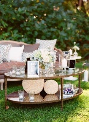 Vintage Reception Coffee Table With All White Arrangement