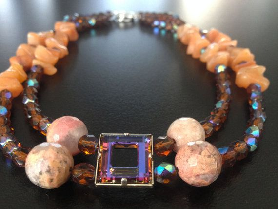 Handmade Beaded Choker Necklace with Rhodonites & by BYTWINS, €65.00