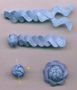 Rick Rack Roses: Ideas, Rick Racks Flower, Fabrics Flower, Ribbons, Racks Rose, Rickrack, Ric Rac, Diy, Ricrac