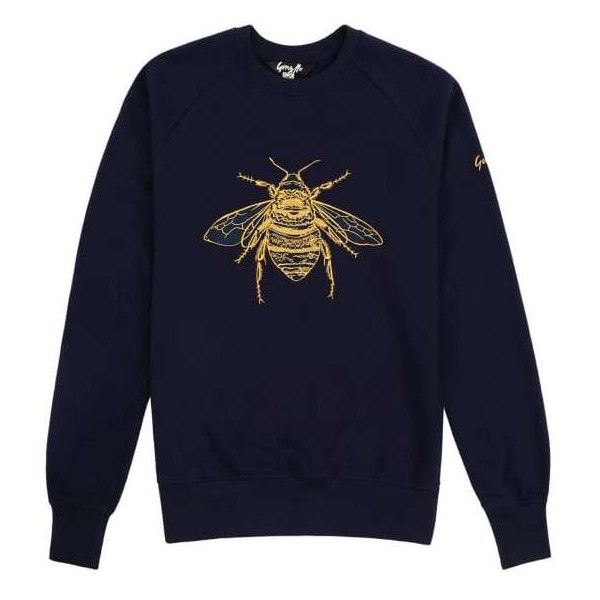 Signature Embroidered Bee Sweatshirt in Navy by Gung Ho ($140) ❤ liked on Polyvore featuring tops, hoodies, sweatshirts, embroidered top, bee sweatshirt, embroidery top, navy embroidered top and purple sweatshirt