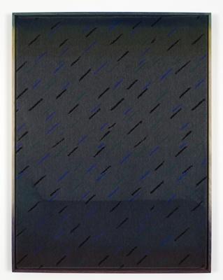 Nina Beier, Fatigues, 2012  Furniture fabric, dye, ink, stain, pigment, bleach, frame  80 x 60 cm