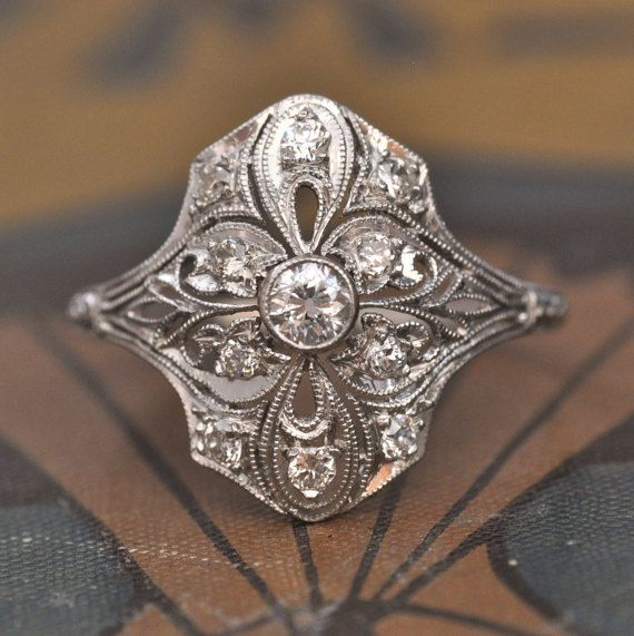 Engagement Ring-1920s Engagement Ring-Art by EngagedWithDiamonds
