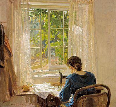 Hans Heysen (pintor australiano de origen Alemán, 1877-1968) Costura, la esposa-del artista 1913