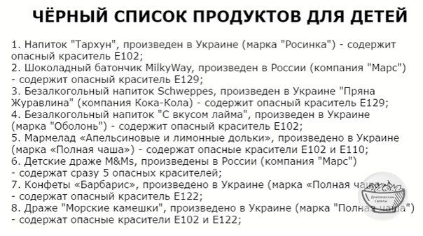 конфеты «Дюшес», произведено в Украине (марка «Полная чаша») - содержат опасный краситель Е102; напиток соковый «Сицилийский красный апельсин», произведено в Украине (марка 'Сандора') - содержит