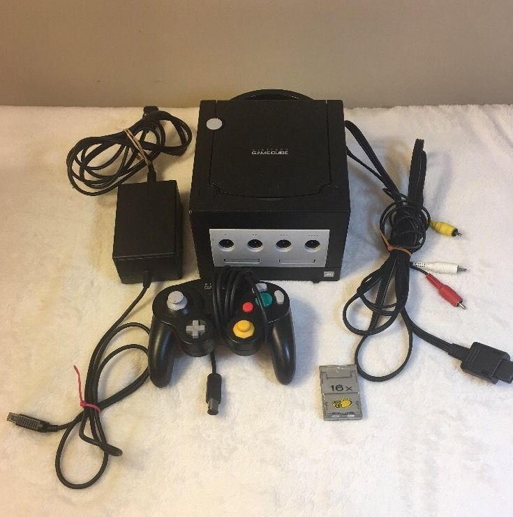 Nintendo GameCube Jet Black Video Game Console System Bundle  Memory Card 45496940027 | eBay