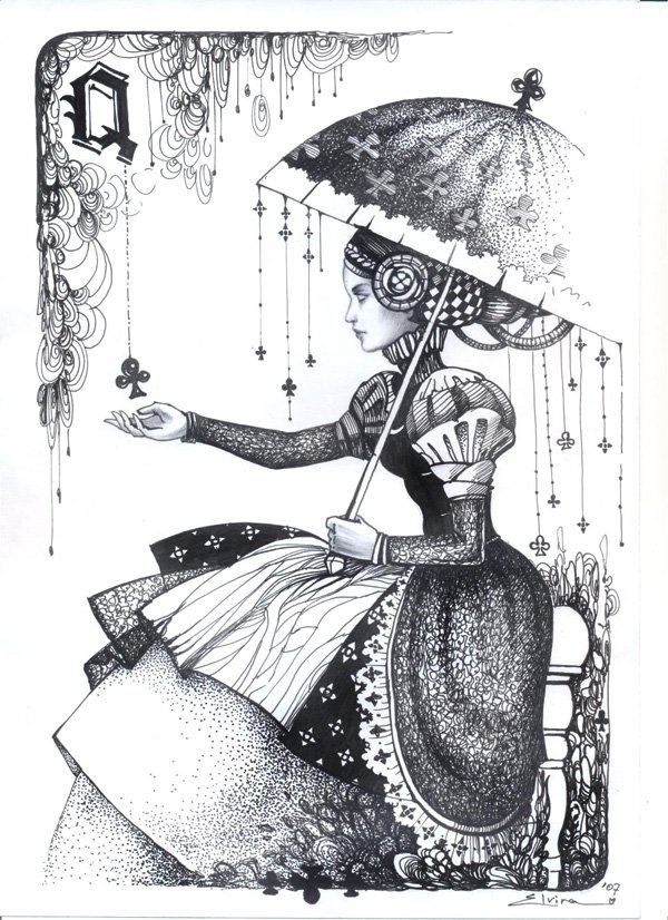 Queen of Clubs playing card - Angela-Demure