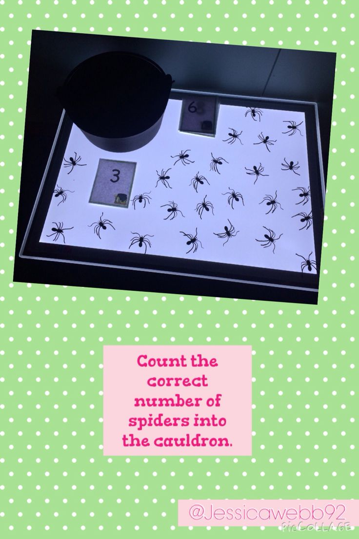 Count the correct number of spiders into the cauldron. EYFS