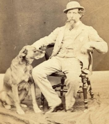 Charles Dickens with his dog.  That's a hell of a dog. Very impressive. The size of a Dickens novel.