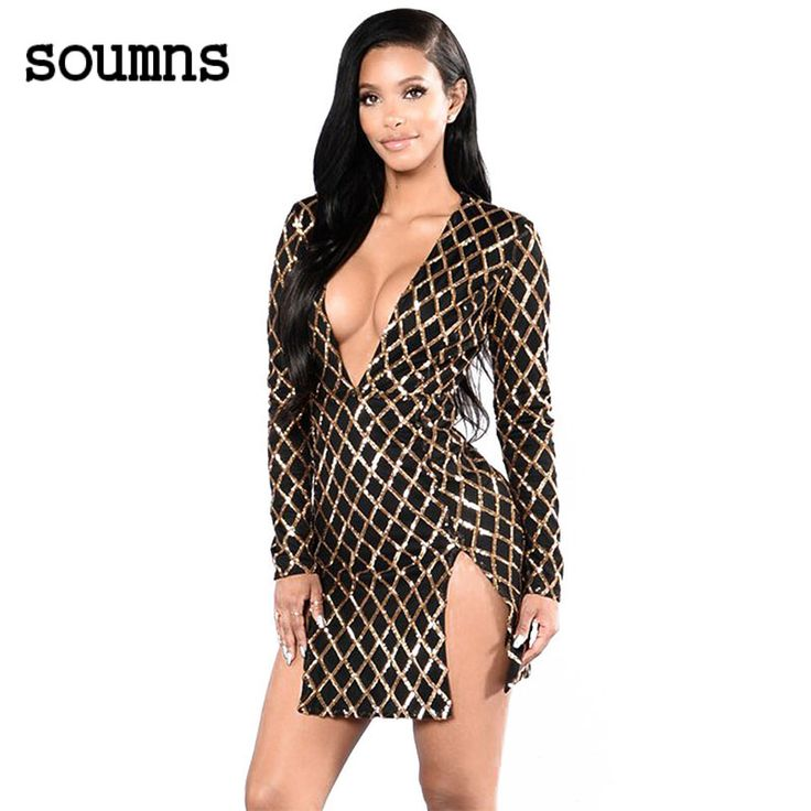 Nieuwe mode party korte sexy jurken v-hals goud plaid sequin zwarte dubbele slit lange mouwen dress 2017 robe hiver 22929