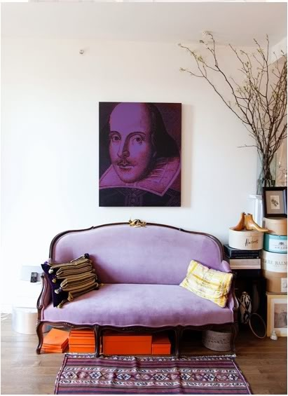 I love the color drenched print.....I wouldn't nessesarily choose an image of shakespeare for my place, but I love the concept.