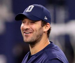 ARLINGTON, TX - SEPTEMBER 25:  Injured Tony Romo #9 of the Dallas Cowboys throws prior to a game against the Chicago Bears at AT&T Stadium on September 25, 2016 in Arlington, Texas.  (Photo by Tom Pennington/Getty Images)