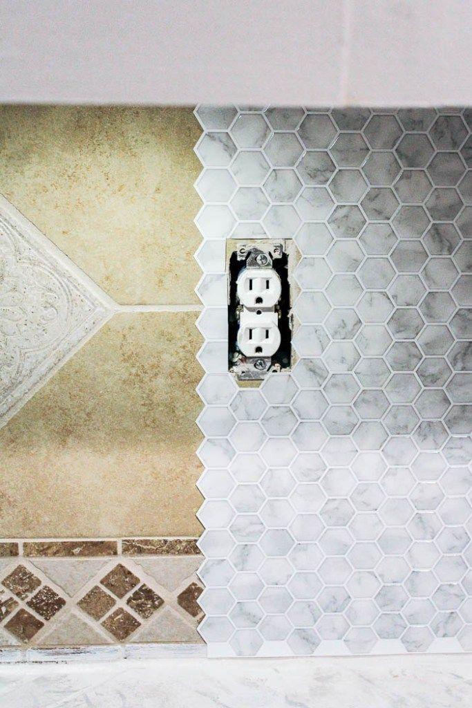 Diy Peel And Stick Backsplash Tile At Home With Ashley In 2020 Kitchen Backsplash Peel And Stick Stick Tile Backsplash Diy Backsplash