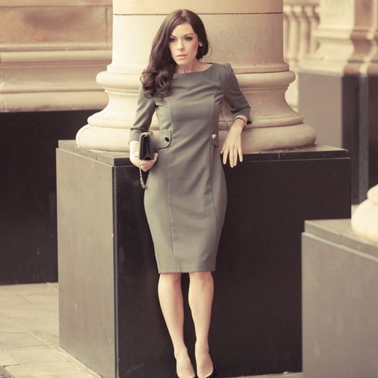 Amanda Petite Grey Work Dress - Petite Work Wear At Pinstripe & Pearls