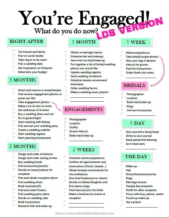 Finally, a wedding checklist for LDS / shortengagement