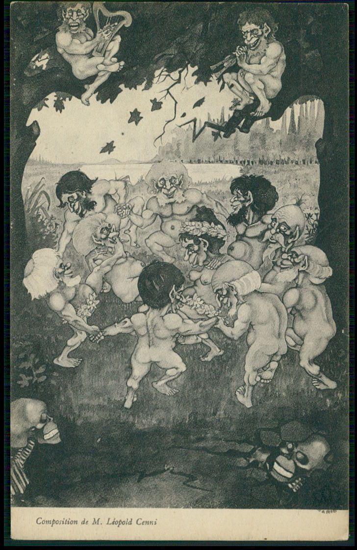 Art Cenni Magician Circle Death Skull Gnome Dance Original Old 1910s Postcard | eBay