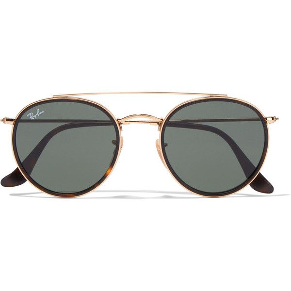 Ray-Ban Round-frame gold-tone and tortoiseshell acetate sunglasses ($160) ❤ liked on Polyvore featuring accessories, eyewear, sunglasses, glasses, gold, aviator sunglasses, tortoise aviator sunglasses, round aviator sunglasses, square sunglasses and square aviators