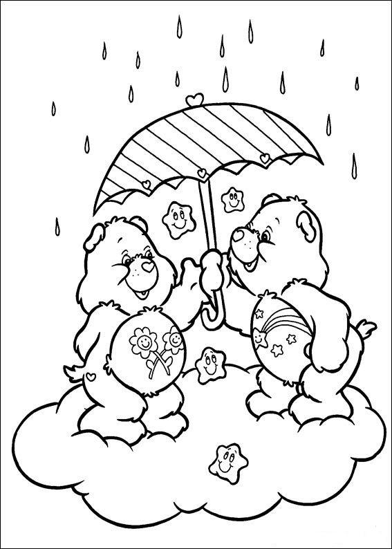 Care Bears Use Umbrellas As Rain Bear PartyRainbow BriteCare BearsUmbrella Coloring PageFun