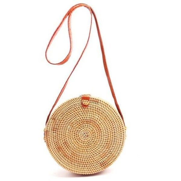 ROUND BEACH STRAW BAG ($60) ❤ liked on Polyvore featuring bags, handbags, round handbag, beach handbags, beach purse, beach bag and straw beach bag