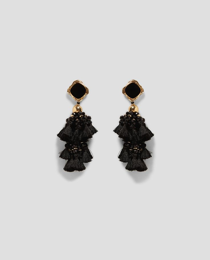 ZARA - WOMAN - STONE POMPOMS EARRINGS