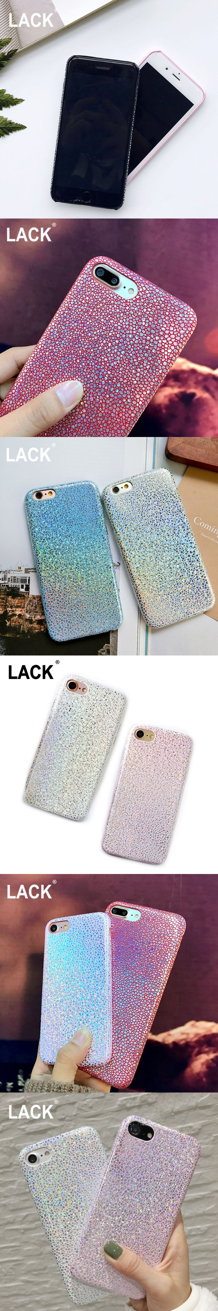 LACK Glitter Bling Phone Case For iPhone 7 7 Plus Fashion Shining Colorful Gradient Laser Case Luxury Leather Soft Cover
