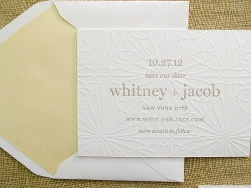 blind emboss - beautiful simple save the date card.