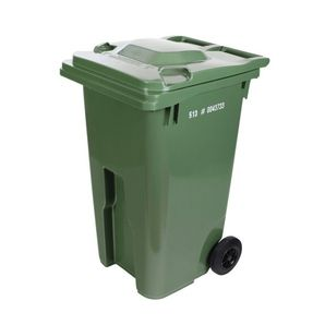 """240L Green European Grip Curbside Garbage Can, with 8"""" Wheels"""
