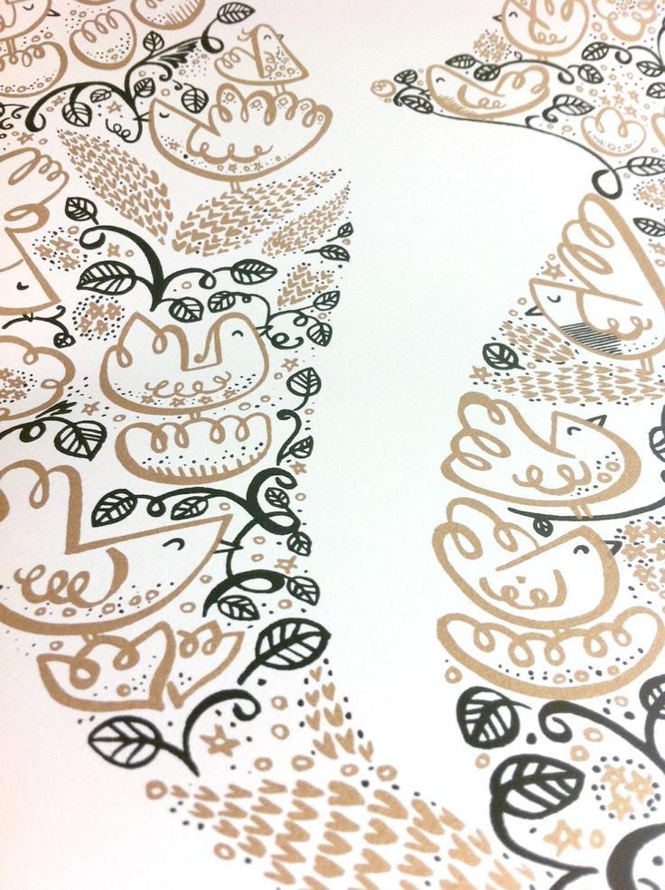 Fox Print Decorative Bird & Floral Screenprint. £29.95, via https://www.etsy.com/listing/126772750