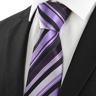 Mens Classic Purple Striped Black Necktie