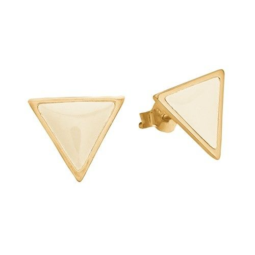 Stud, triangle, beige, gold plated sterling silver