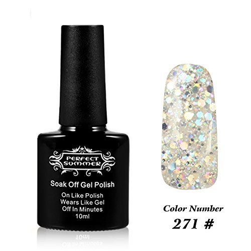 Perfect Summer UV LED Soak Off Gel Nail Polish 10ml Nail Lacquer Shiny Snowflake Color 271 Glitter Silver * Be sure to check out this awesome product.