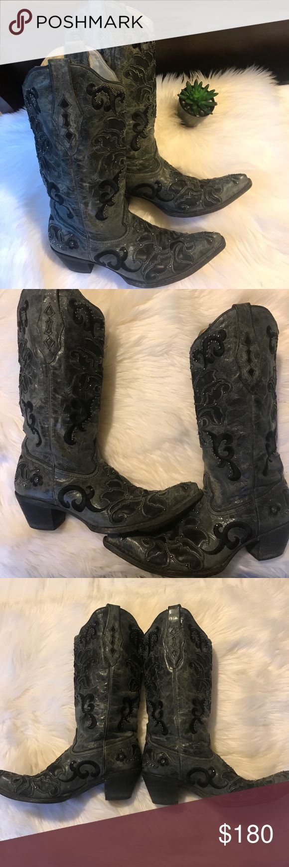 ✨ CORRAL Vintage Boots |  Authentic + Distressed ✨ 🌵 Gorgeous Corral Vintage Boots | Distressed gray, embellished with gray studs, black embroidery, and beautiful leather inlays | I LOVE these boots, but I don't wear them enough to justify the investment. My loss is your gain. Worn fewer than 10 times total | I don't see any missing studs or notable non-factory wear, but please zoom in on pictures to inspect before purchasing. ❌ No trades ✔️ Bundle and save! Corral Shoes