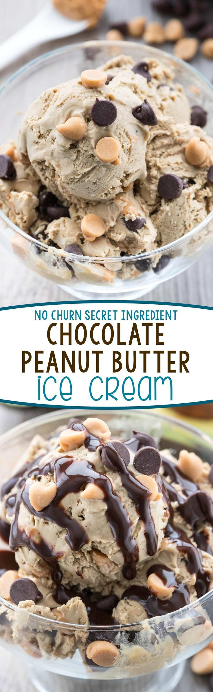Easy No Churn Chocolate Peanut Butter Ice Cream - this easy ice cream recipe has a secret ingredient to keep it smooth and creamy and is FULL of chocolate peanut butter flavor!