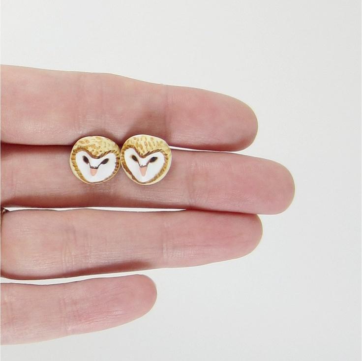 Sweet little barn owl earrings. $28.00.