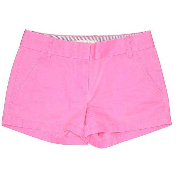 J. Crew Khaki Shorts ($26) ❤ liked on Polyvore featuring shorts, pink, pink cotton shorts, j crew shorts, khaki shorts, pink shorts and cotton shorts