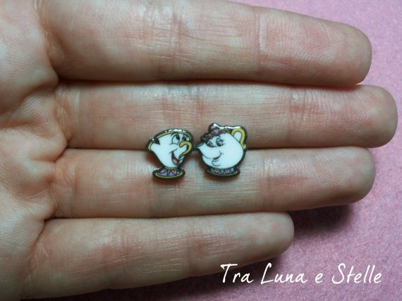 ♥ The earrings are handmade with great care. They measure approximately 1 cm = 0,39 inch.  ♥ They are made with shrink plastic and have been