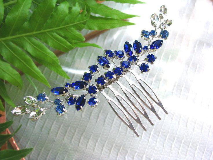 Cobalt Blue Wedding Hair Piece, Cobalt Hair Vine, Blue Hair Vine, Blue Hair Comb, Cobalt Hair Comb, Cobalt Wedding Hair Piece, by byPiLLowDesign on Etsy
