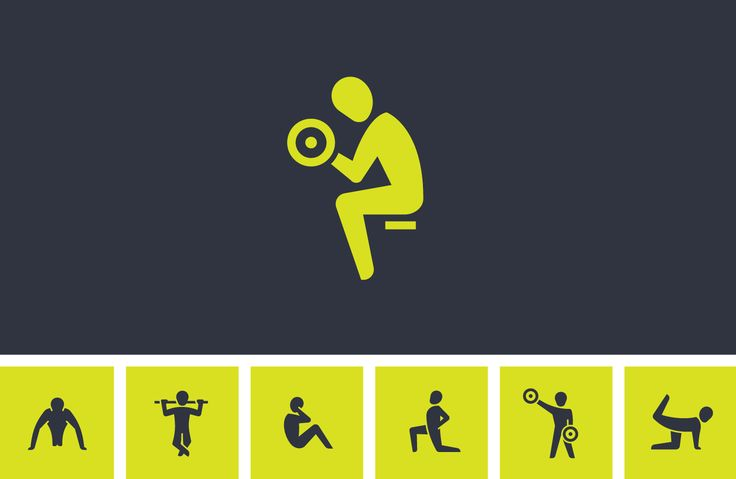 Icon design for fitness exercises and training workouts, used in an iOs app for Azumnio.