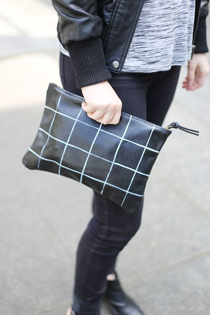 Adore this grid clutch by Pine + Boon paired with some skinnies.