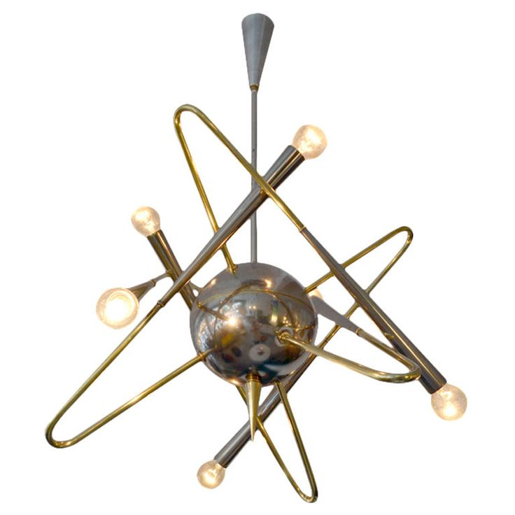taly  1950's  A fantastic chandelier celebrating the atom, attributed to Stilnovo Lighting. The chandelier is comprised of nickel and brass.