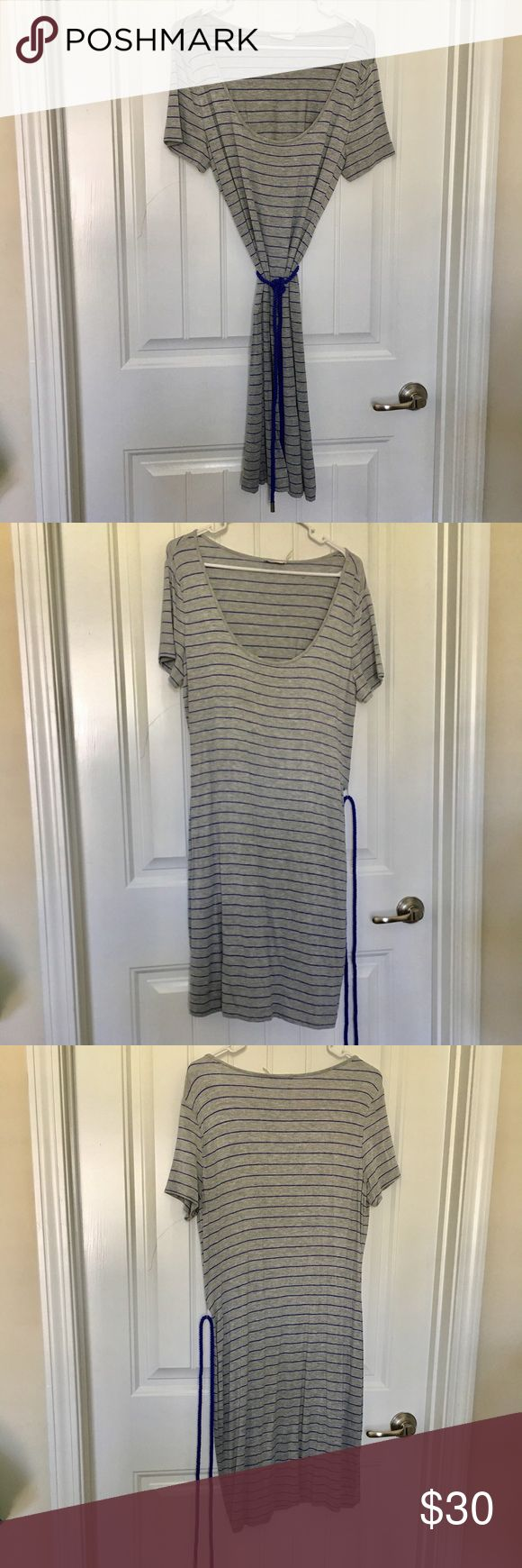 CK Striped Short Maxi Dress Excellent condition. Washed never worn. No tags. Grey w/blue stripes and roped belt. Knee Length. Light weight. Measurements available upon request.  SK6 Calvin Klein Dresses Maxi