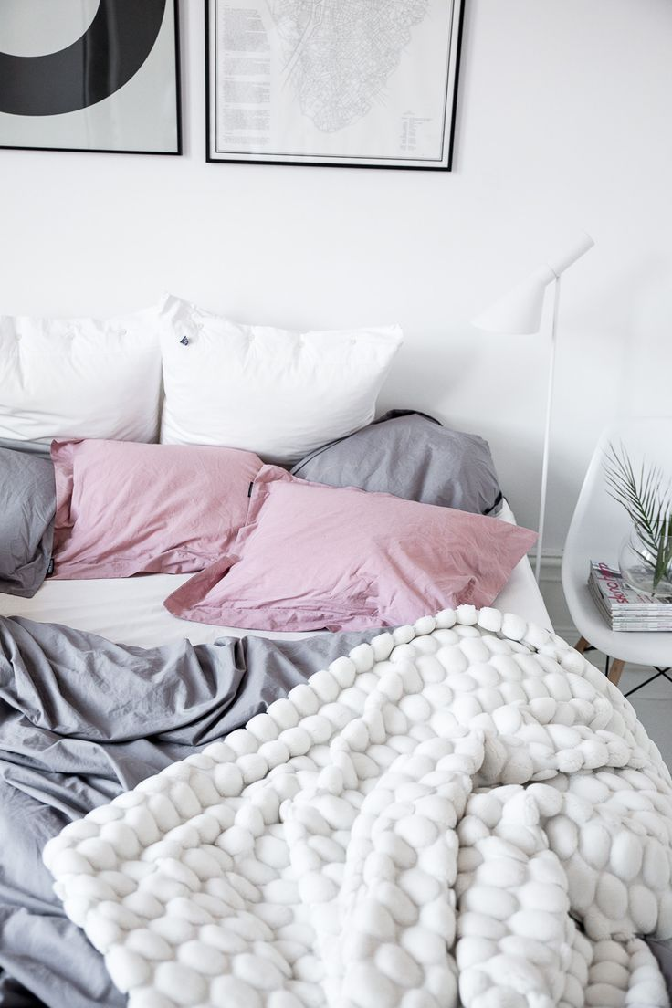 Love the grey blush pink and white sheets and bed. Minimalist bedrooms are my favorite these days.