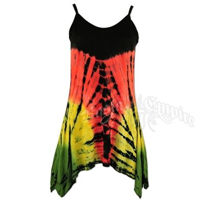 This 100�0cotton women's butterfly top is done in a Rasta colored tie dye pattern. The lines slowly transition from a red stripe in the middle of the top to two green stripes on either side of the flowy bottom. The top has a black bodice and straps. All tie dyes have their own unique appearance and each may be a little different than what is pictured. Tanks fit smaller than regular tees.