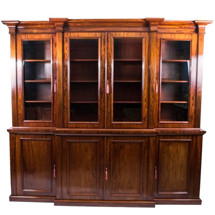 Antique Victorian Flame Mahogany Bookcase, circa 1850 | From a unique collection of antique and modern bookcases at https://www.1stdibs.com/furniture/storage-case-pieces/bookcases/