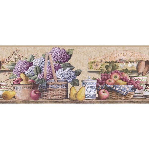 Purple Fruit and Floral Kitchen Wallpaper Border