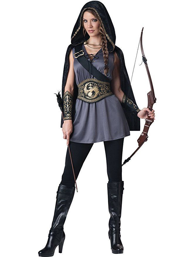 "- 100% Polyester - Imported - Machine Wash - 2"" high - 13"" wide - Hooded cape with chain closure, tunic dress with lace-up front - Attached strap, printed gauntlets and waist cinching belt"