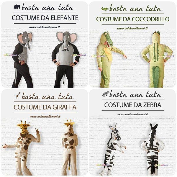 Come fare costumi di carnevale di animali facili. Raccolta di tutorial in italiano con modelli da stampare: giraffa, zebra, elefante, coccodrillo.