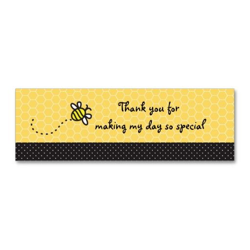 Cute Bumble Bees Baby Shower Thank You Tags Business Card Template