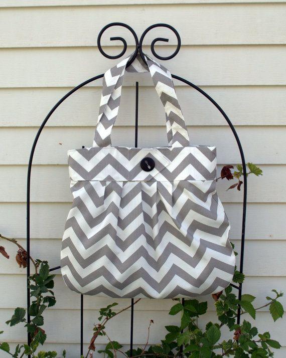 FREE SHIPPING - Gray - Chevron Purse - Pleated Purse - Diaper Bag - Tote - School Bag on Etsy, $52.00